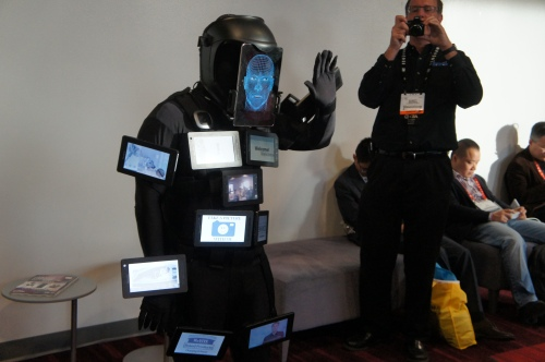 """So long, farewell ... "" The colorful figure known as ""Tablet Man"" at the 2013 Consumer Electronics Show in Las Vegas."