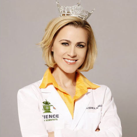 Erika Ebbel Angle wears both a pageant tiara and lab coat in her Dr. Erika TV show. Credit: Science from Scientists