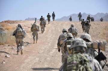 Afghan National Police officers, Afghan National Army soldiers and U.S. Army 1st Battalion, 4th Infantry Regiment Soldiers patrol on foot in the Zabul province of Afghanistan on July 25, 2009. Credit: U.S. Army  http://www.flickr.com/photos/35703177@N00/3797720023/
