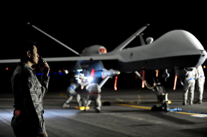 A U.S. MQ-9 Reaper drone is prepped at Creech Air Force Base in Nevada. Credit: U.S. Air Force photo/Senior Master Sgt. C.R.